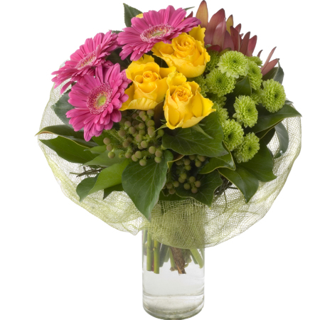 Grouped Vase of Colourful Flowers