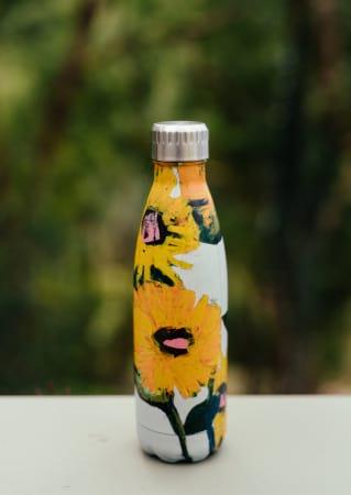 Anna Blatman Sunflower Print Insulated Stainless Steel Water Bottle