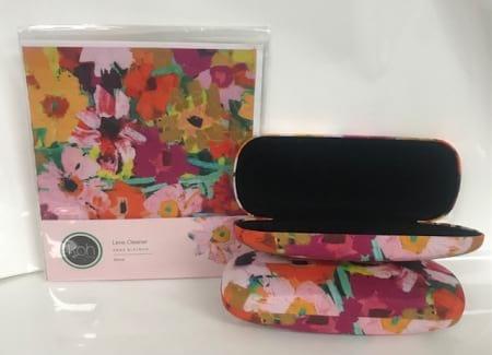 Pink Floral Print Glasses Case with Pink Floral Print Lens Cleaner bundle