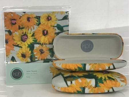 Sunflower Print glasses Case with sunflower print lens cleaner bundle