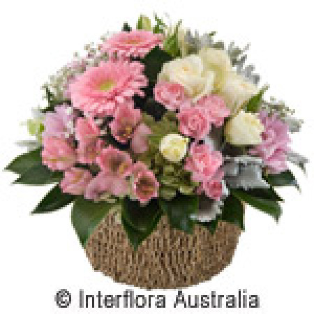 New baby gifts and flowers pink kelly basket negle Image collections