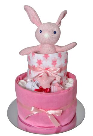 Bunny Cake  in pink, blue or greys